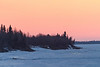 Looking down the Moose River towards airport after sunrise from Moosonee.