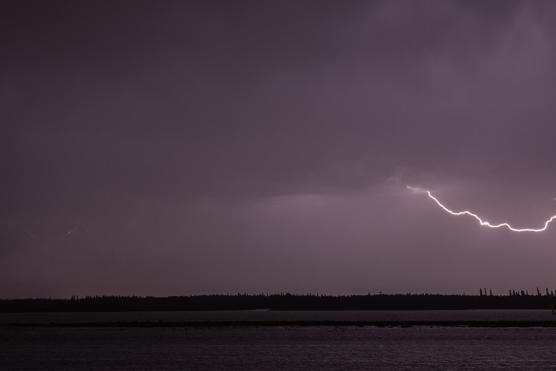 Lightning over the Moose River at Moosonee.