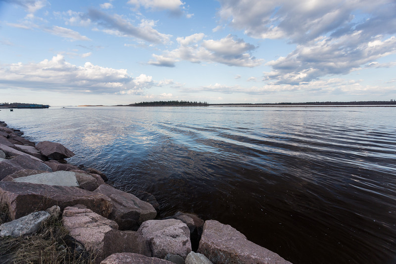 Looking down the Moose River shoreline. Butler Island in the distance.
