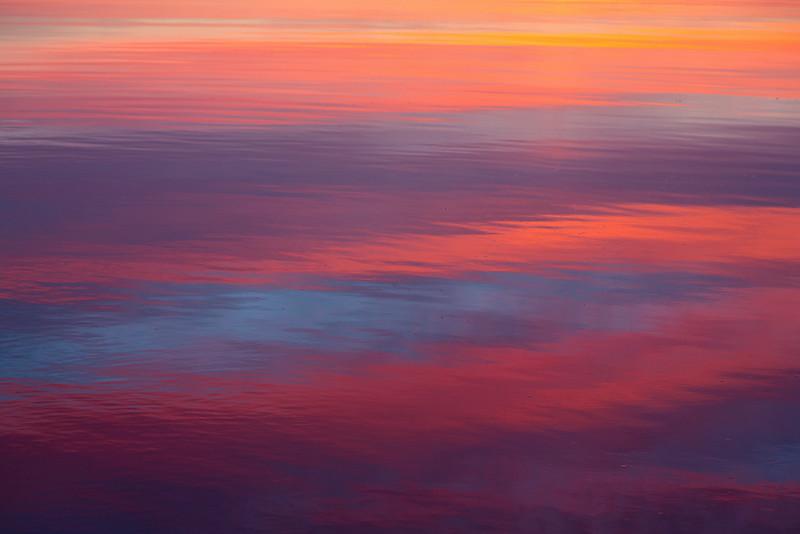 Surface of the Moose River before sunrise at Moosonee, Ontario.