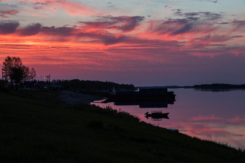 Clouds over the Moose River at Moosonee before sunrise 2013 June 23rd.