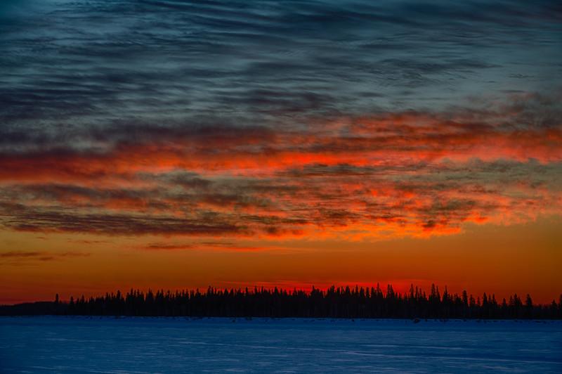 Sky before sunrise across the Moose River from Moosonee. HDR efx dark. 2015 March 11