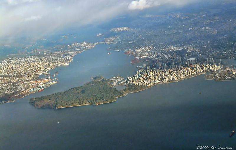 Vancouver BC, including Stanley part and North Vancouver, as seen from the air.