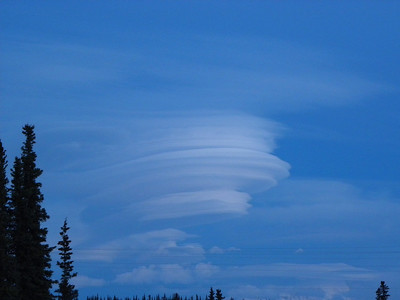 Stacked lenticular clouds form in the lee of Mt Drum above Glennallen.