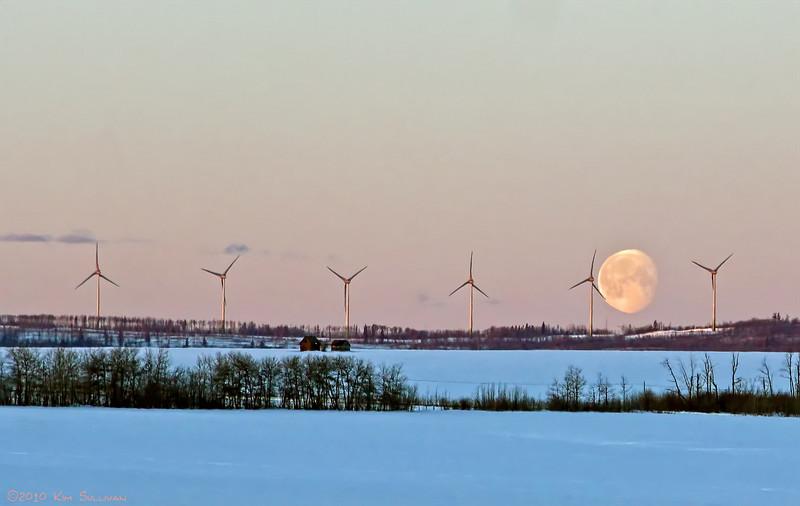 Moon setting behind windmills.