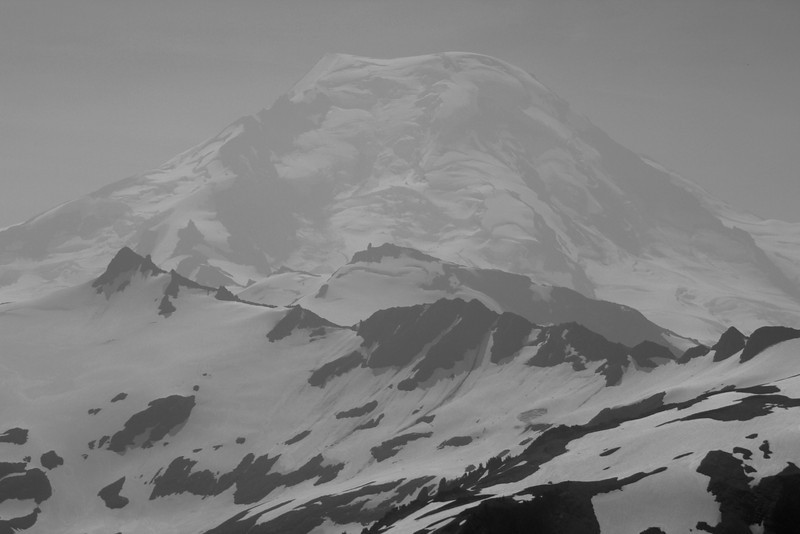 Mount Baker peeking through the haze.
