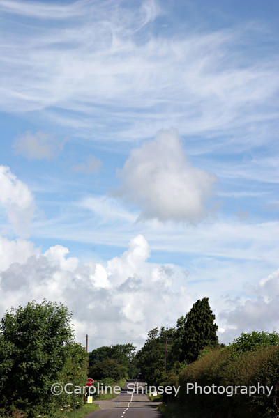 There are several different types of clouds in this view taken looking toward the Hunter's crossroads, nr Priddy, Mendip Hills, Somerset. The clouds in this image are cumulus and cirrus.