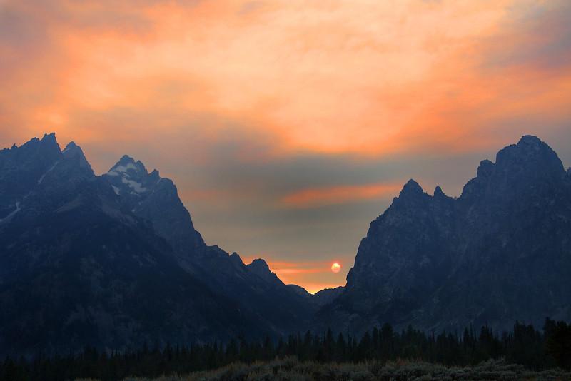 Sunset behind the Tetons, Tetons National Park