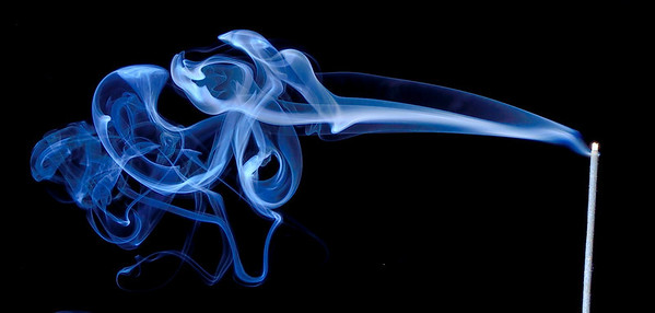 Smoke plume from a burning incense stick