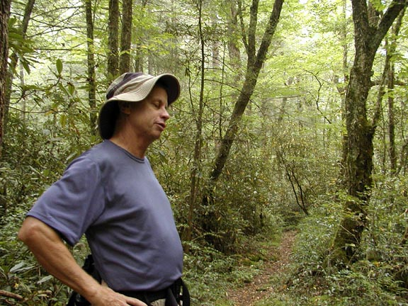 """Tom Dunigan --Creator of Tennessee Landforms. A very useful and interesting tool for trip planning, navigation, and aid in """"shopping"""" for good places to go! <br /> Check it out! <br />  <a href=""""http://www.cs.utk.edu/~dunigan/landforms/"""">http://www.cs.utk.edu/~dunigan/landforms/</a><br /> Tom shakes head at Dana's offer to try some spikenard berries."""