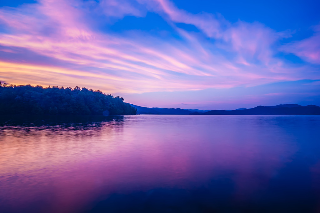 sunset during blue hour at the lake