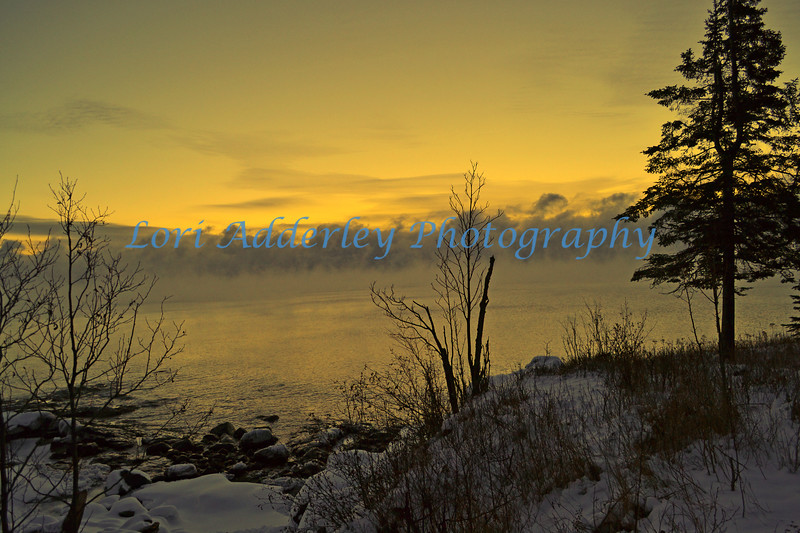 Lake Superior Sunset: Misty sun set over lake Superior