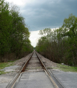 Train tracks in North Bennington.  Or, a long road without a bend in it as they say up here...