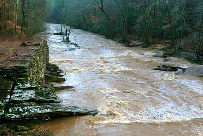 1/21 - Nearby Sope Creek, normally a lazy stream perfect for wading, is full of rushing brown water after today's rain.
