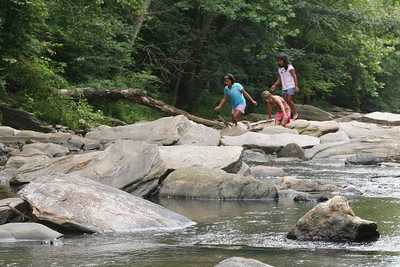 Sope Creek as it normally is - calm with lots of exposed rocks to climb on.