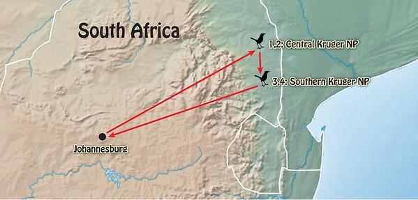 "General outline of itinerary of Rockjumper's ""Kruger Extension."""