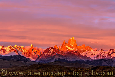 Sunrise on Cerro Torre and Fitz Roy