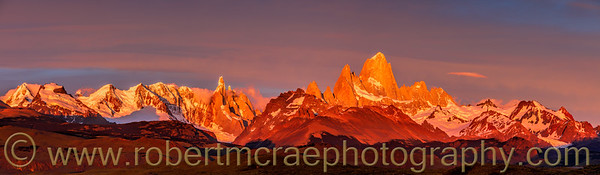 Sunrise on Cerro Torre and Fitz Roy Panorama