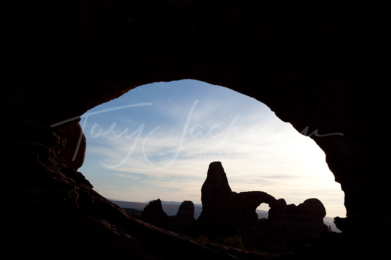 Turret Arch through North Window in Arches National Park