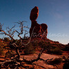 Balanced Rock, natural moon lighting.