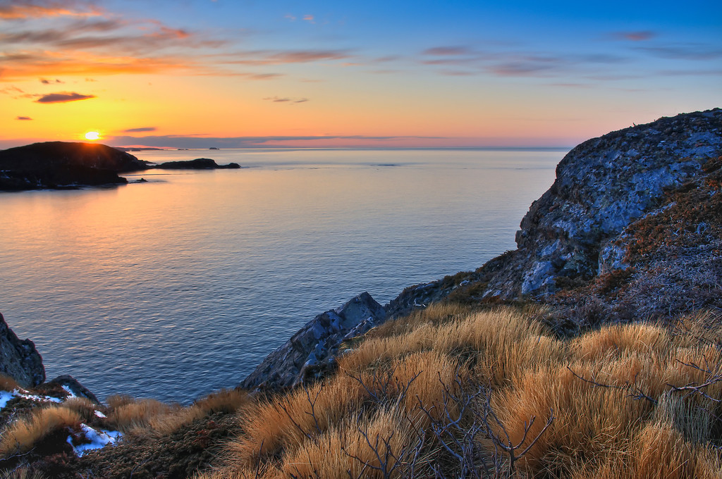 """""""April Sunset"""" View from Pike's Arm lookout looking west to Twillingate, Long Point."""