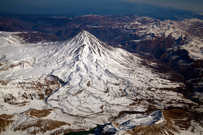 Mount Damavand, 5610 meters high.   Just west of Tehran, Iran.  Tallest mountain in Middle East