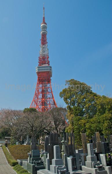 A cemetery near Tokyo Tower