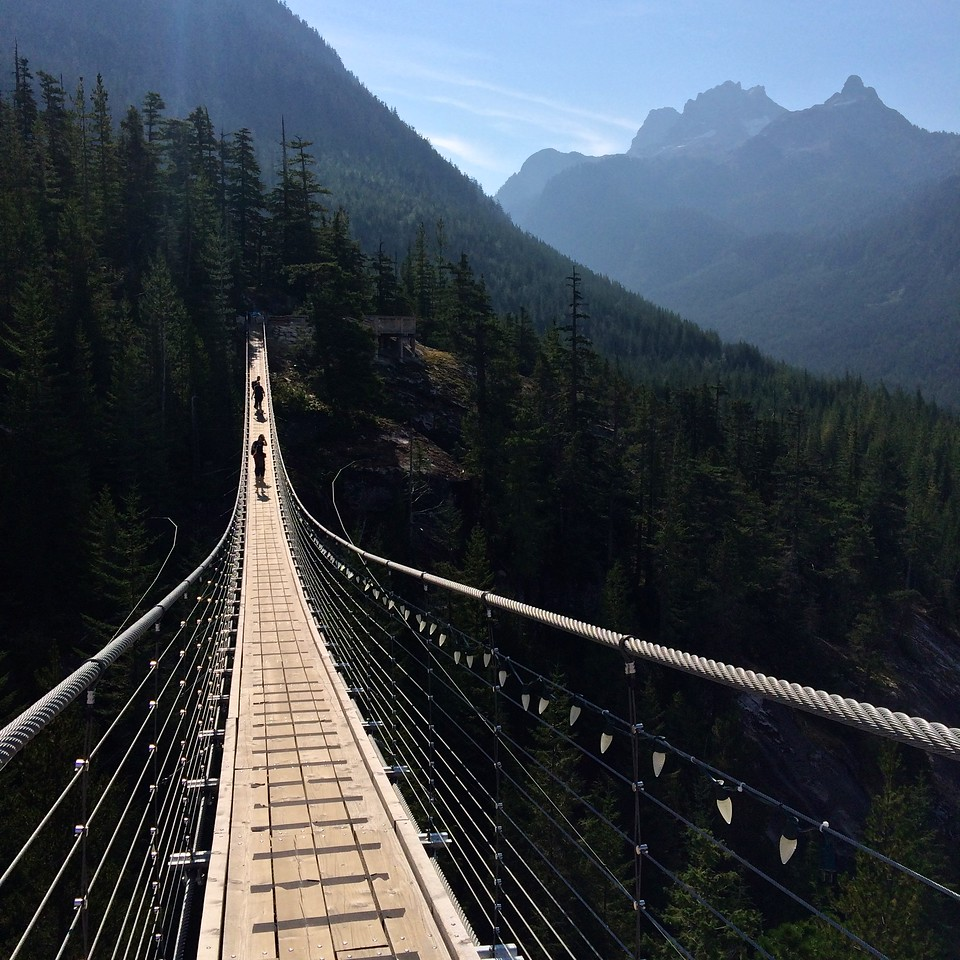suspended bridge near the new Sea To Sky gondola in Squamish
