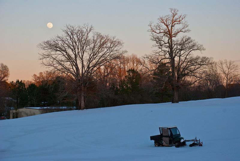 Driving range at dusk