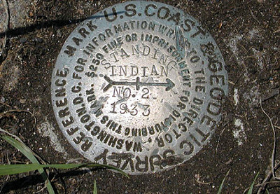 Benchmark for the summit of Standing Indian 5,499 ft. elev. Southern Nantahala Wilderness, NC