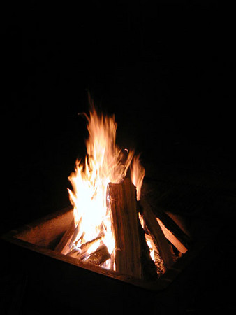 Kenny's masterpiece campfire!<br /> Standing Indian Campground<br /> They sell a golfcart load of firewood for $20 which lasts 2-3 nights and a big bag of kindling to boot.