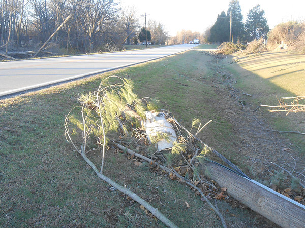 Power lines were down across Fayette County after the high winds of Sunday's storms.