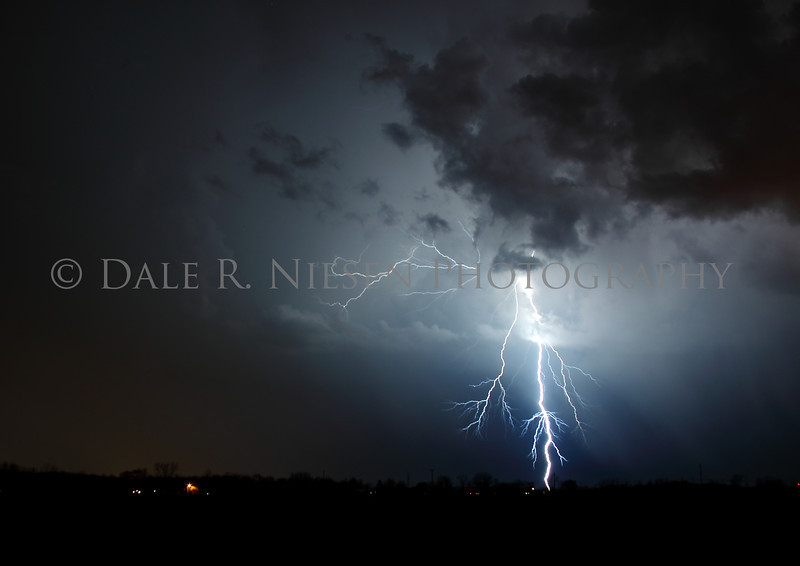 Lightning strike during a spring storm in southeast Michigan.