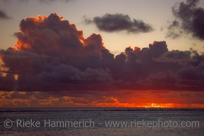 Dark Clouds over Sea at Dusk - Rarotonga, Cook Islands, Polynesia