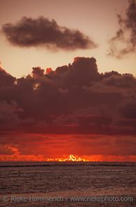 Clouded Sky glowing at Dusk - Rarotonga, Cook Islands, Polynesia