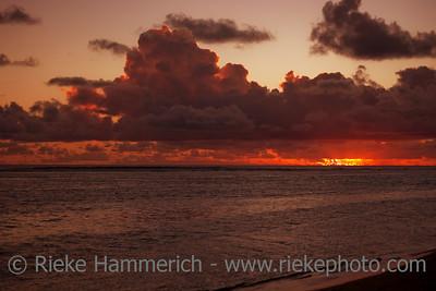 Dark Cloudscape over Sea at Dusk - Rarotonga, Cook Islands, Polynesia