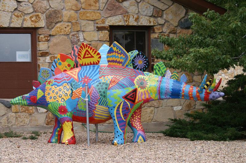 Painted stegosaurus, Dinosaur Ridge, W. Alameda Parkway, Morrison, Colorado
