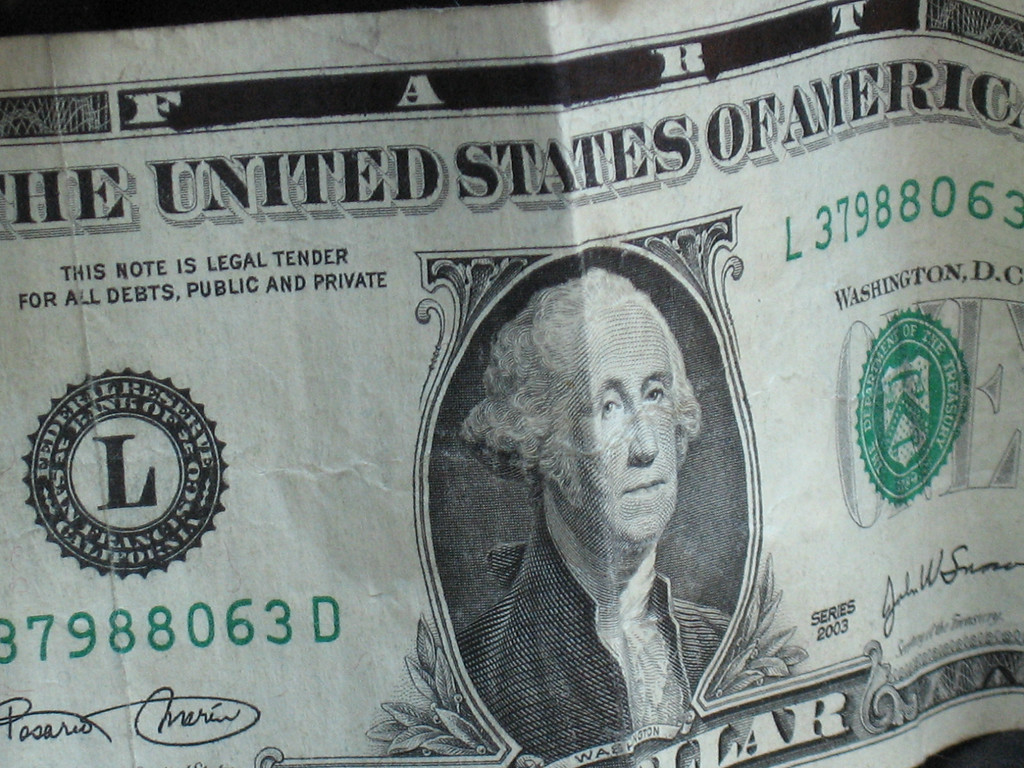 "The ""Fart"" dollar.  Someone had blocked out the rest of the letters in ""Federal Reserve Note""."