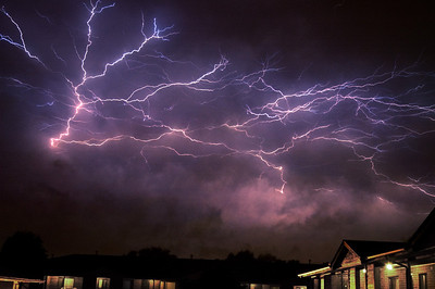 Several cloud to cloud lightning strikes combined together for effect.