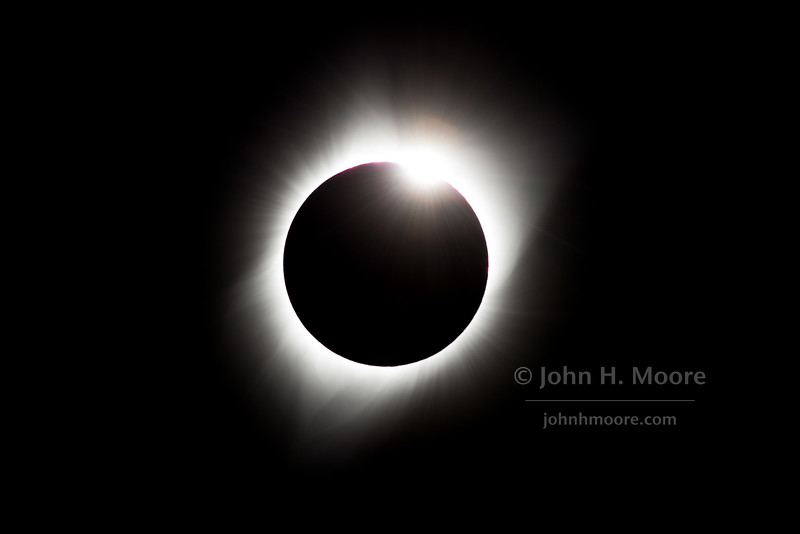 "The ""diamond ring"" just at the end of totality during the Total Solar Eclipse of August 21, 2017, as seen from Grand Tetons National Park, Wyoming, USA."