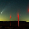 Comet NEOWISE (C/2020 F3) behind a row of wind turbines in the desert east of San Diego, California