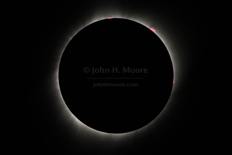 Solar prominences on the sun as seen during the total solar eclipse of August 21, 2017.