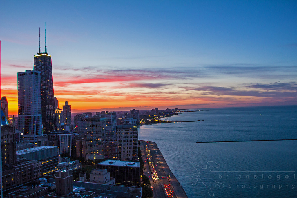 Sunset in Chicago from Ohio and Lake Shore Drive