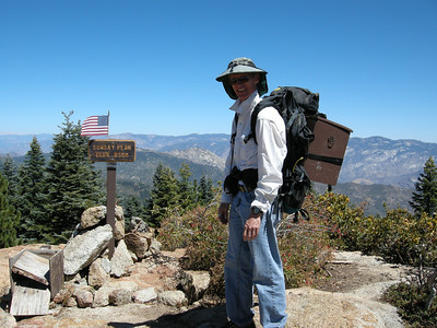 Sunday Peak is in the Greenhorn Mountains, northeast of Bakersfield. The old summit register box had fallen apart; Norm had had a new one built. Carrying it up to the summit in September gave me an excuse to use my old Mountainsmith pack.