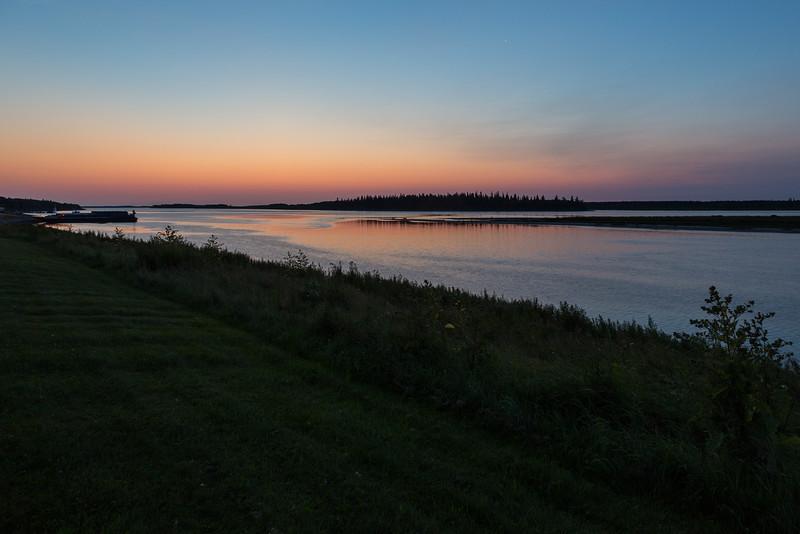 Wide shot of the Moose River at Moosonee befoe sunrise.
