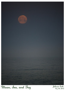 Moon, Sea, and Fog  The moon dropping behind the fog over the Pacific.  Pacifica, CA, 2012 May 06