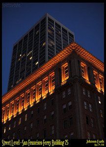 Photos taken of or around the San Francisco Ferry Building at sunset. Thanks to Flickr user nightbeacons for providing the inspiration for this photo shoot :)  This, by the way, is the Southern Pacific Railroad building at the end of market, as seen from next to the Ferry Building, with a modern skyscraper behind it.  San Francisco Ferry Building, 29 May 2011.
