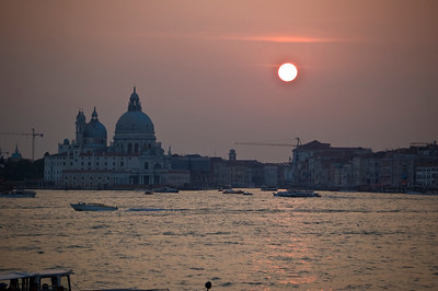 Sunset in Venice across the harbor from St. Marks Square