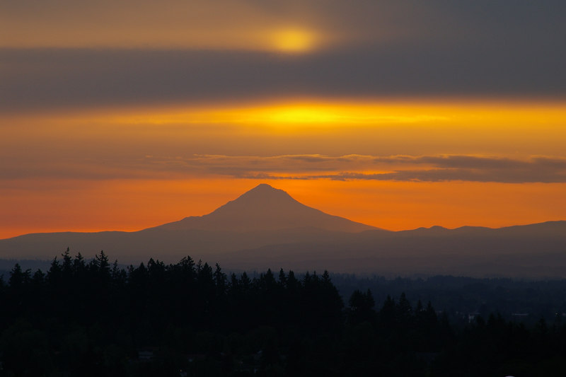 Dawn of new Day and Mount Hood - from West Salem, Oregon