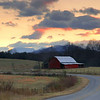 Sunset over a barn in Polk County, NC.